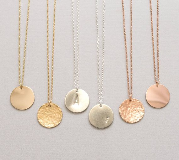 Large Coin Necklace Monogram, Disk Initial Necklace, Monogram .