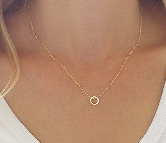 Dainty Circle Necklace, Karma Necklace, Gold Circle Necklace .