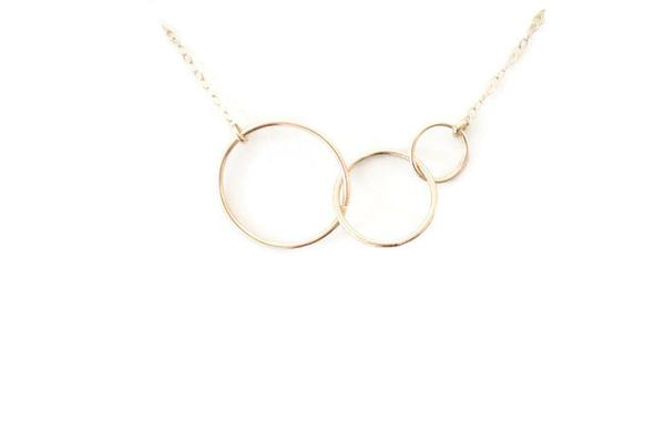 The Katie Three Linked Circles Necklace (Gold or Silver) | Circle .