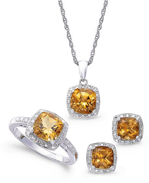 Macy's Sterling Silver Jewelry Set, Citrine (4-3/4 ct. t.w.) and .