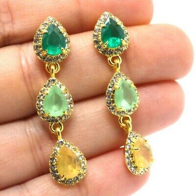 Gorgeous Pear Emerald Peridot Citrine Earrings Women Jewelry .
