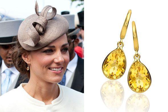 Kate Middleton Citrine Gold Teardrop Earrings #jewelry | Oorbellen .