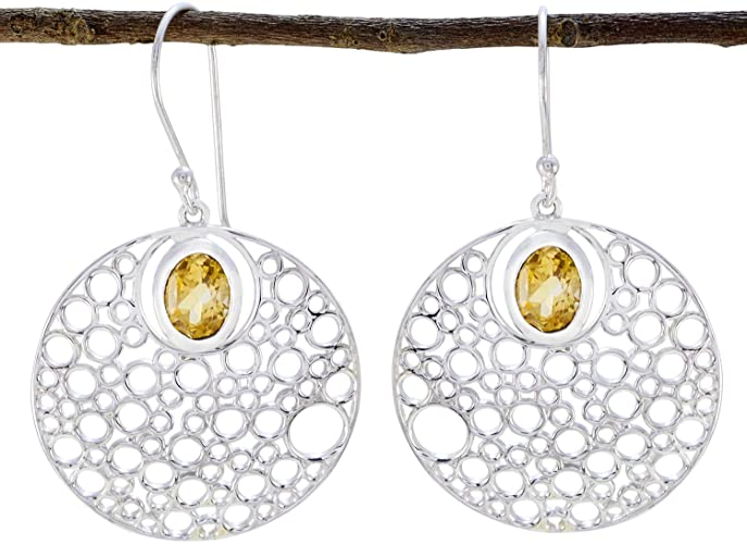 Amazon.com: Real Gemstones Faceted Citrine Earrings - Solid Silver .