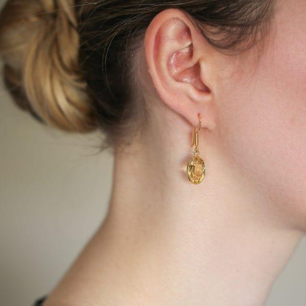 Shop Handmade Gold-overlay Citrine Earrings (India) - Overstock .