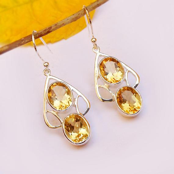Sterling Silver Citrine Dangle Earring Natural Gemstone Earrings .