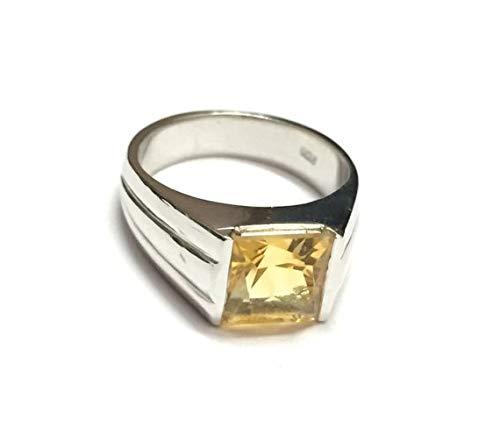 Amazon.com: 925 Sterling Silver Citrine Ring 7 mm Square Citrine .