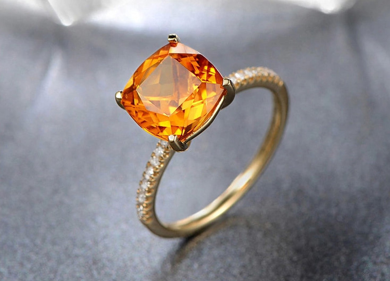 cushion cut 1.65ct citrine ring,14K yellow gold citrine engagement .