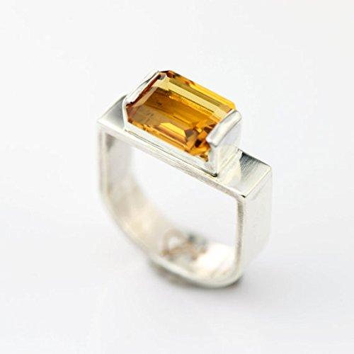 Amazon.com: Sterling Silver Emerald cut Citrine Ring Stirrup .