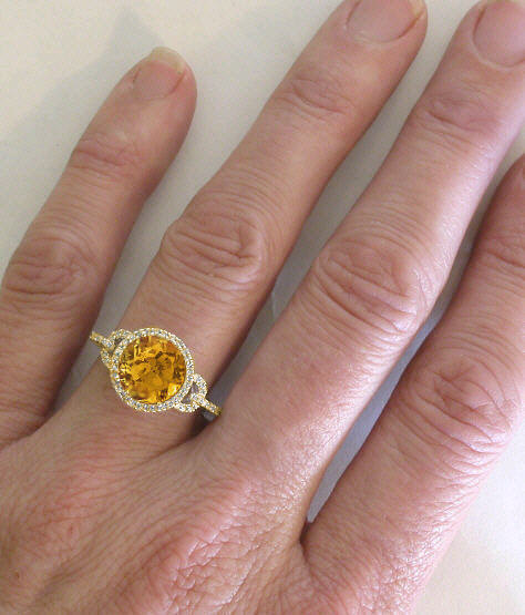 Citrine and Diamond Rings in 14k yellow gold (GR-211