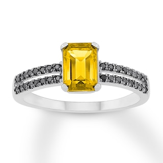 Citrine Ring 1/6 ct tw Black Diamonds Sterling Silver | Gemstone .