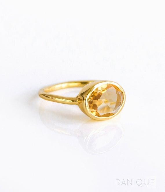 Champagne Citrine Ring November Birthstone Ring stackable | Et