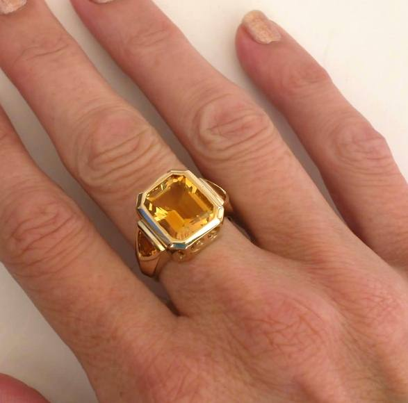 Bezel Set Citrine Rings with Emerald Cut and Trillion Cut Citrine .