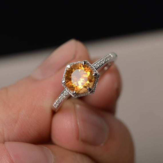 Yellow Citrine Ring Round Cut Engagement Rings November | Et