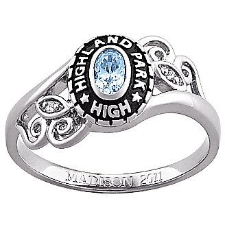 Class Ring, Ladies Oval Birthstone | Class rings for girls .