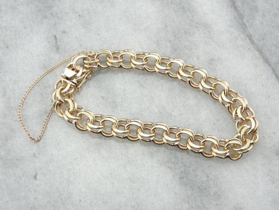 Classic Double Link Vintage Gold Charm Bracel