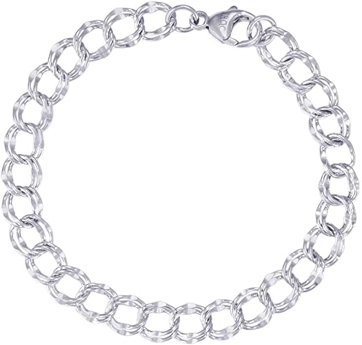 "Amazon.com: Rembrandt Charms, 7"" Large Double Link Dapped Curb ."