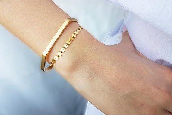 Gold Cuff Bracelet, Cuff Bracelets Set, Unique Gifts for Women .