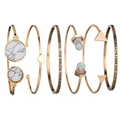 Amazon.com: Booboda Set Of 6 Pcs Classic Gold Love Cuff Bracelet .