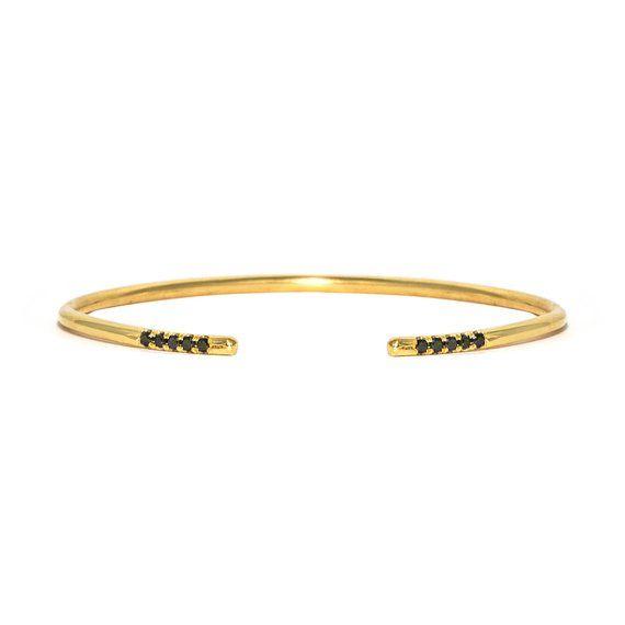 Classic Dainty Gold Bracelet Cuff - Black diamonds - Thin Cuff .