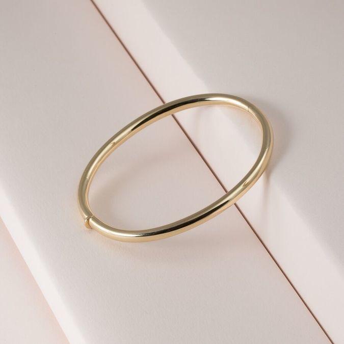 14K Gold Oval Bangle Bracelet | KTCollecti