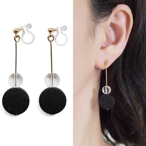 Comfortable Wood Clip On Earrings, Black Invisible Clip On .