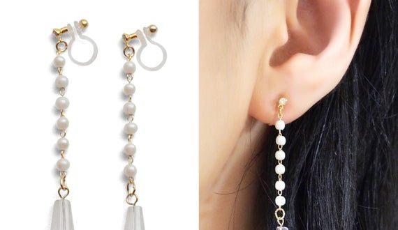 Pearl clip on earrings dangle clip on earrings long clip on   Et