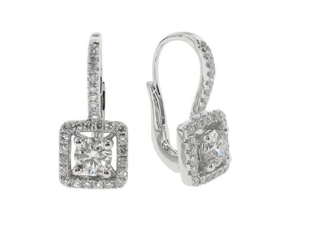 Diamond Halo French Clip Earrings - Earrings - Fine Jewel