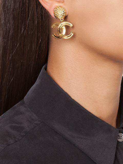 Chanel Vintage logo clip-on earrings   Vintage chanel earrings .