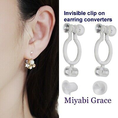 Comfortable Invisible Clip On Earring Converters Pierced to Clip .