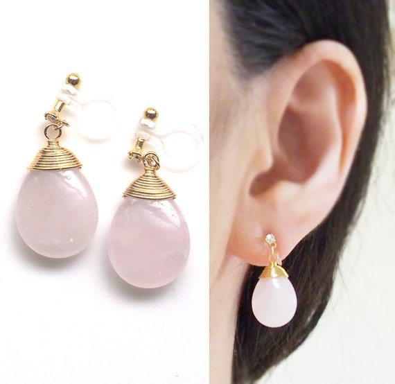 Rose Quartz Invisible Clip On Earrings, Pink Gemstone Clip On .