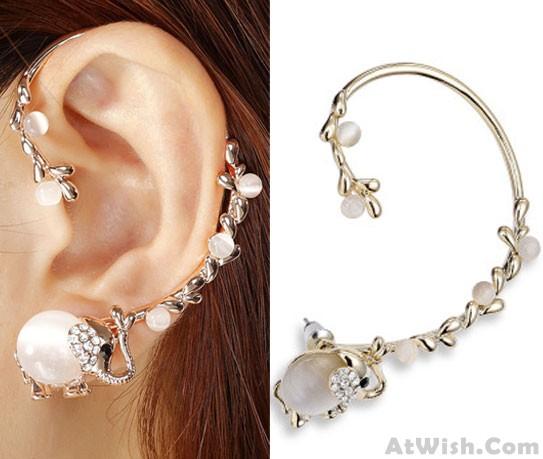 Punk Luxury Elephant Long Branch Clip Earring   Fashion Earrings .