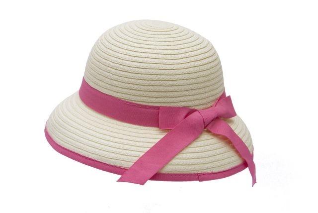 Wholesale Girls Summer Hats - Straw Kids Cloche Hat with B