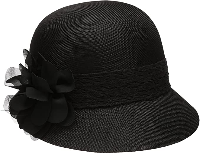 Epoch Women's Gatsby Linen Cloche Hat With Lace Band and Flower .