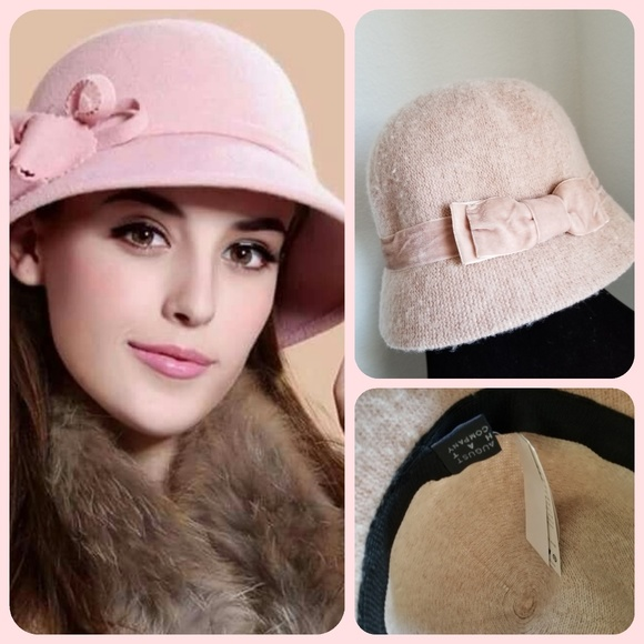 August Hats Accessories | Nwt Pink Wool Blend August Hat Cloche .