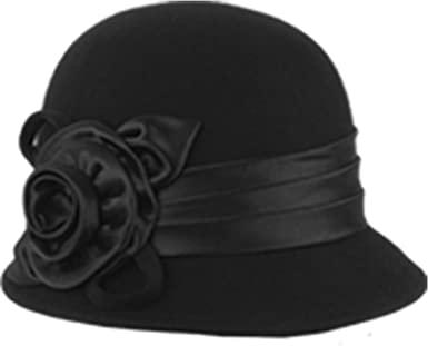 Winter Wool 1920s Flapper Elegant Floral Beading Cloche Hat .