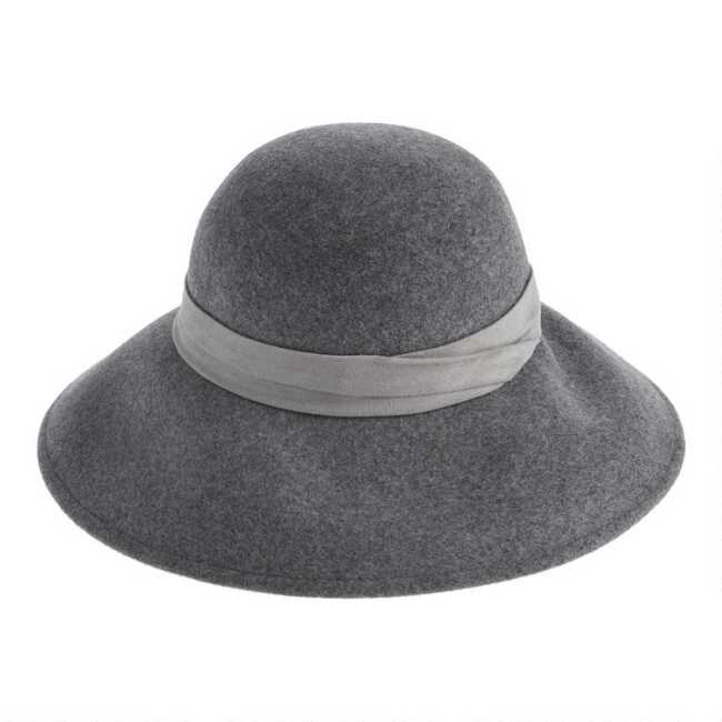Gray Wool Cloche Hat With Faux Suede Trim | World Mark