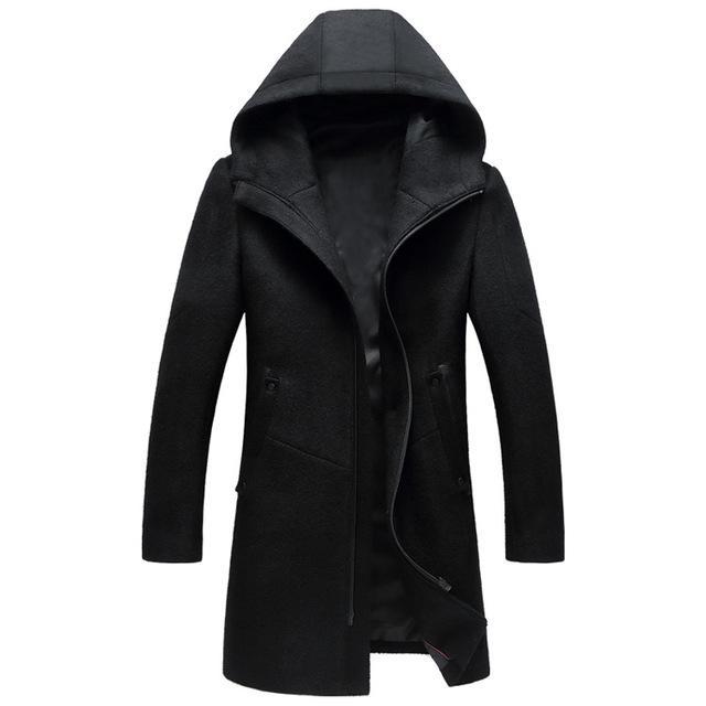 Winter Long Hooded Trench Coat Men winter Casual Men's Wool Hoodie .