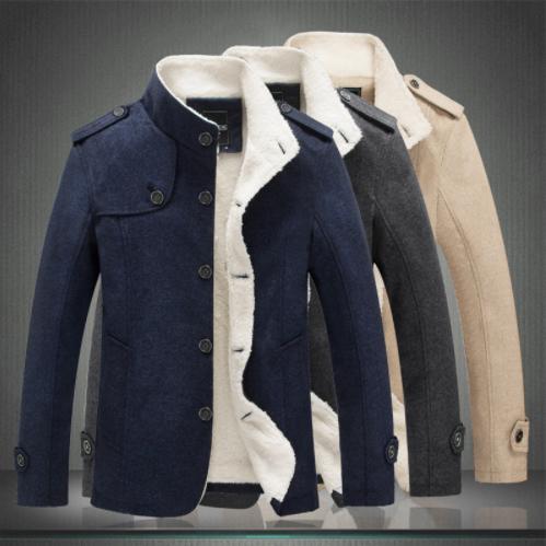 New Men Woolen Blends Fashion Winter Jacket Men Fleece Lined .