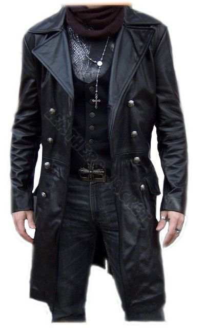Handmade men black biker leather coat, men leather coat, men long .