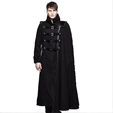 Devil Fashion Long Maxi Coats Stand Collar Goth Detachable Shawl .