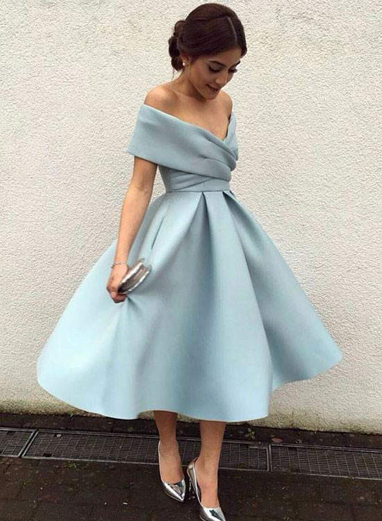 Cute light blue off shoulder short prom dress, cocktail dress .