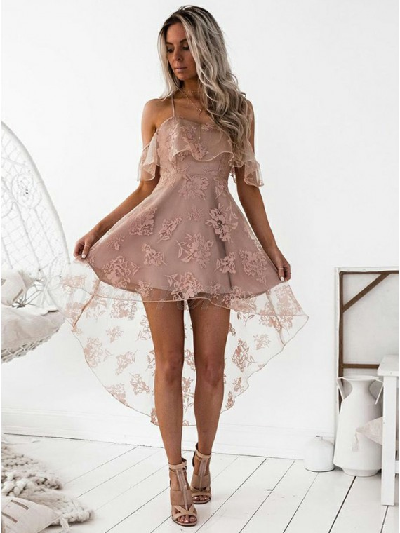 High Low A-Line Spaghetti Straps Blush Lace Homecoming/Cocktail .