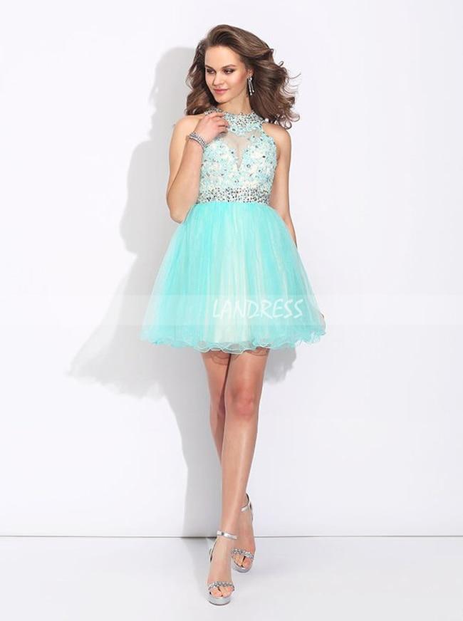 Aqua Sweet 16 Dresses,Tulle Open Back Cocktail Dress,11468 .