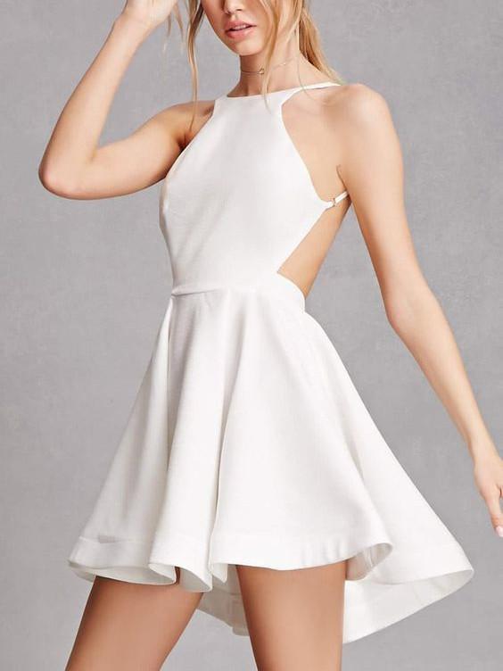 Sexy Satin Jewel Neckline backless Short A-line Cocktail Dresses .