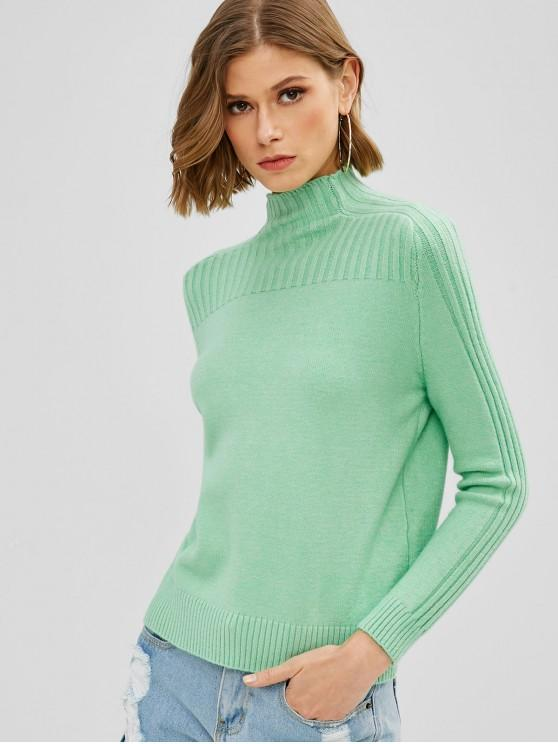 65% OFF] 2020 Ribbed Knit High Collar Sweater In GREEN | ZAF