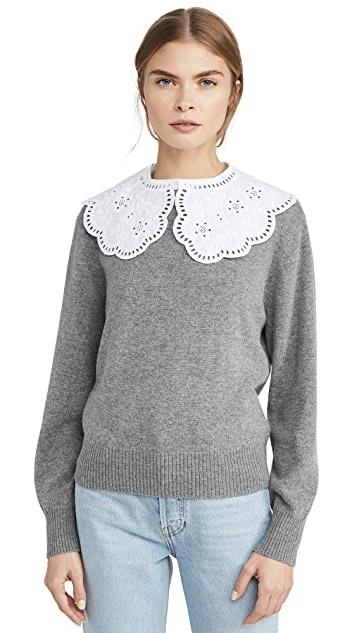 Sea Zippy Lace Collar Sweater | SHOPB