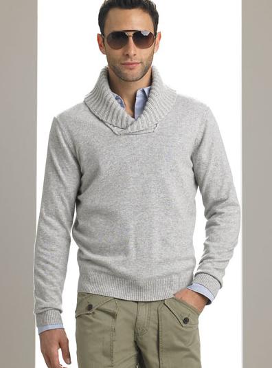 Michael Kors Cashmere Shawl Collar Sweater - Pinstripe Magazi