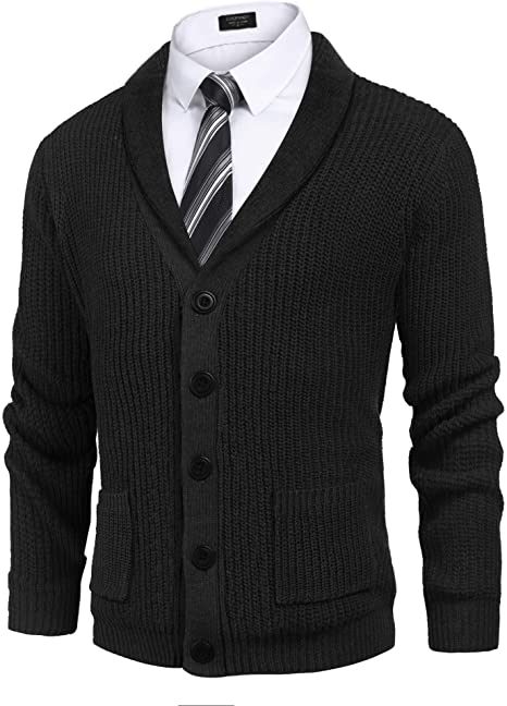 COOFADNY Mens Shawl Collar Cardigan Sweaters Cable Knit Pocket .