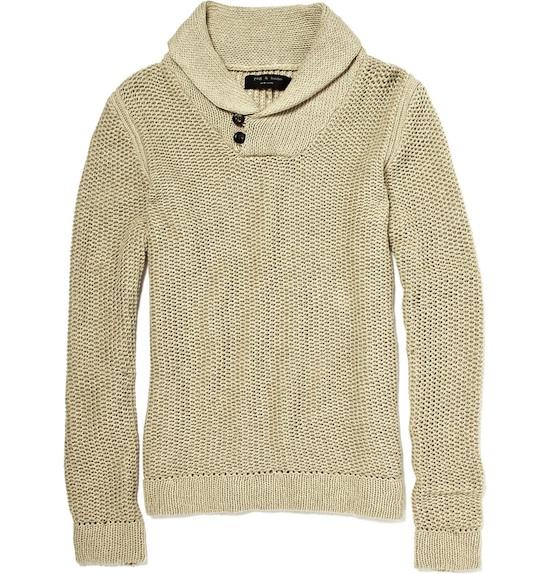 Zac Efron in Persol Sunglasses and Rag & Bone Shawl Collar Sweater .