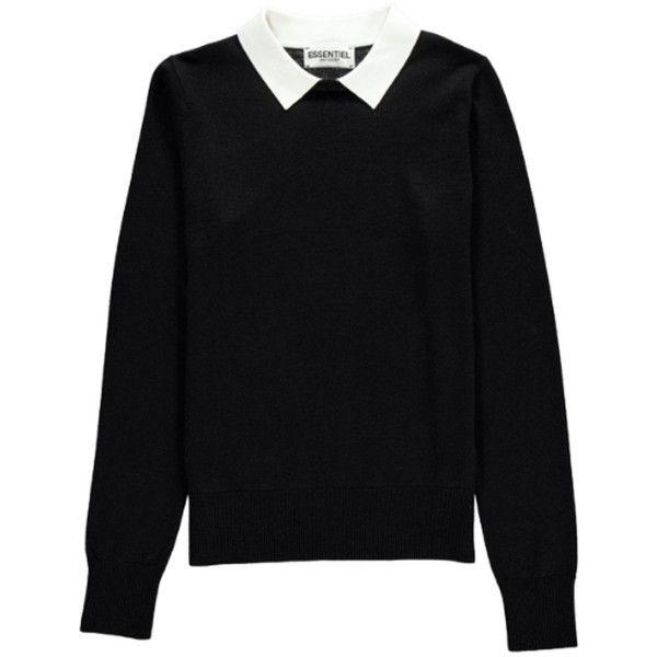 Essentiel Nagoya Collared Sweater - Black found on Polyvore .